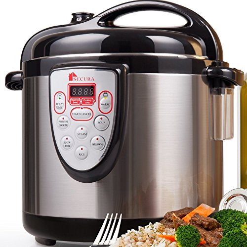 Secura 6-in-1 Programmable Electric Pressure Cooker 6qt,...