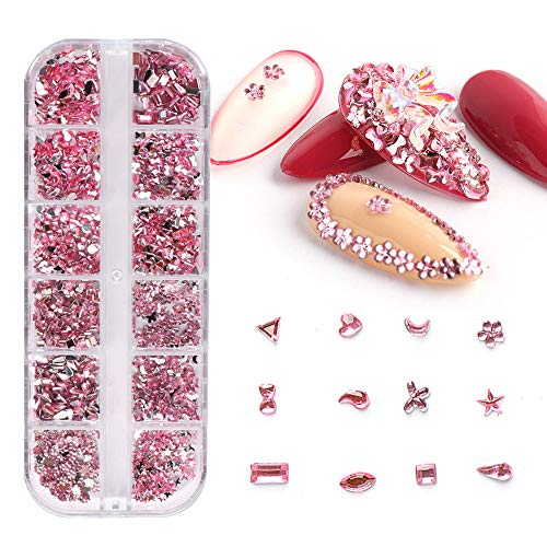 AB Crystal Rhinestones for Nails, 12Grids 3D Resin Nail Art Rhinestone Nail Art Supplies Gems Flatback Nail Diamonds Nail Accessory Ornaments for Women Acrylic Nails Designs Nail Art Decor (Pink)