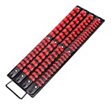 CASOMAN 80-Piece Portable Socket Organizer Tray, 1/4-Inch, 3/8-Inch, 1/2-Inch,Heavy Duty Socket Rail, Black Rails with Red Clips