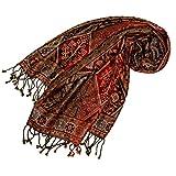 Lorenzo Cana - Foulard Pashmina pour femme en soie et laine 70 x 190 cm marron bronze motif cachemire 78097