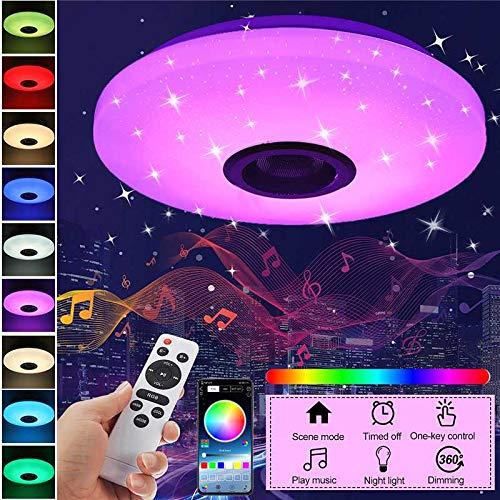 SHENXI Plafoniera LED Soffitto 36W con altoparlante Bluetooth, 3900 lm, RGB Lampada da Soffitto LED con musica, app telecomando a distanza, per bagno, festa di Natale, camera da letto