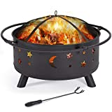 Yaheetech 30' Outdoor Fire Pit, Metal Firepit Bonfire Wood Burning Heater Stove Backyard Patio Garden Firepit for Outside with Spark Screen and Fireplace Poker, Stars and Moons Design Pattern
