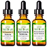 Anti Aging Serum 3-Pack for Face - Vitamin C Serum, Retinol Serum,...