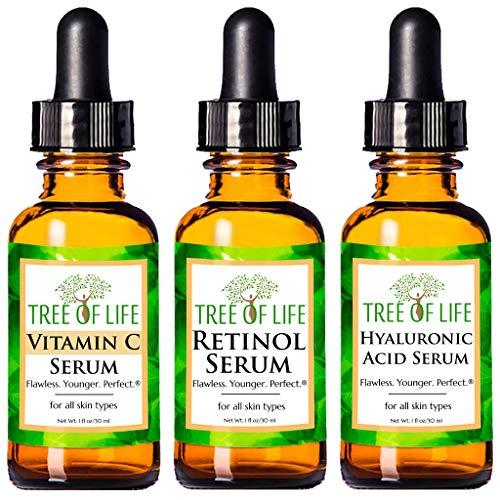Anti Aging Serum 3-Pack for Face - Vitamin C...