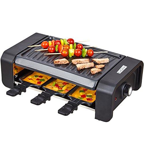 KLAGENA Raclette Partygrill mit einer hochwertigen geriffelten Wendegrillplatte und 6 Raclette-Pfännchen – Raclette-Grill, Multi-Grill, Grill-Platte – für kulinarische Kreationen vom Grill