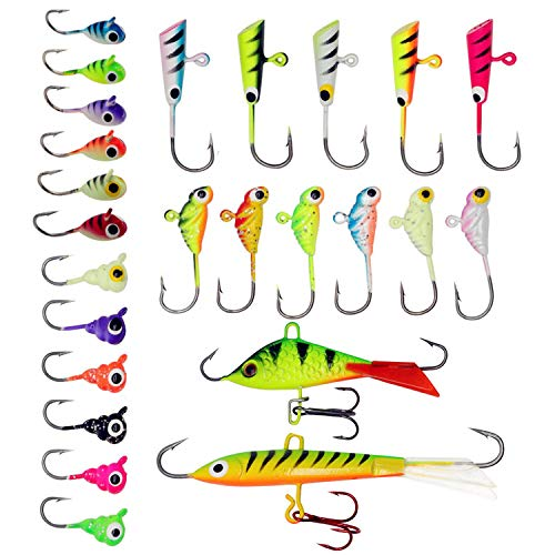 ZWMING Ice Fishing Jigs Kit, Ice Fishing Lures in Tackle Box Bass Trout Walleye Perch Winter Ice...