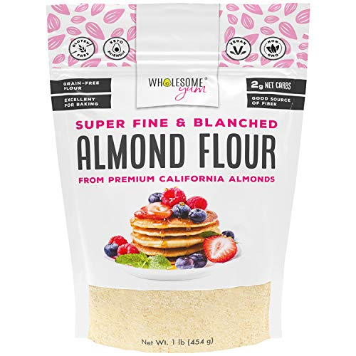 Wholesome Yum Premium Super Fine Blanched Almond Flour (16 oz / 1 lb) - Gluten Free, Non GMO, Keto Friendly Flour Substitute For Low Carb Baking