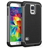 Galaxy S5 Case, SYONER [Shockproof] Hybrid Rubber Dual Layer Armor Defender Protective Case Cover for Samsung Galaxy S5 S V I9600 [Gray/Black]