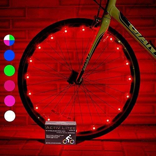 Activ Life Luci a LED per Ruote di Biciclette (Conf. da 1 per Copertone, Rosso) Idea Regalo per...