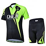 Ateid Children Boys' Girls' Cycling Jersey Set Short Sleeve with 3D Padded Shorts Racing 9-11 Years