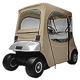 Classic Accessories Fairway Golf Cart FadeSafe Enclosure For E-Z-Go, Short Roof, Khaki