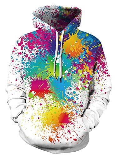 UNIFACO Unisex Felpa con Cappuccio Cool Sweatshirt Hoodie 3D Stampato Felpe Pullover con Coulisse Tasche
