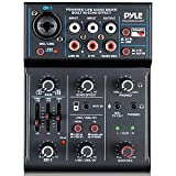 Professional Wireless DJ Audio Mixer - 3-Channel Bluetooth DJ Controller Sound Mixer w/USB Audio Interface, Combo Jack XLR+6.35mm Mic/Line/Guitar in, 3.5mm, RCA, AUX, Headphone Jack - Pyle PAD33MXUBT