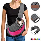 YUDODO Pet Dog Sling Carrier Breathable Mesh Travel Safe Sling Bag Carrier for Dogs Cats (S up to 5lbs Pink)