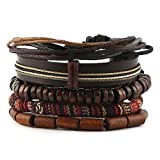 HZMAN Mix 5 Wrap Bracelets Men Women, Hemp Cords Wood Beads Ethnic Tribal Bracelets, Leather Wristbands