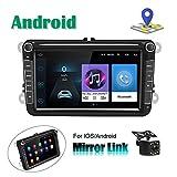 CAMECHO Autoradio Android pour VW Navigation GPS 8'' Écran Tactile...