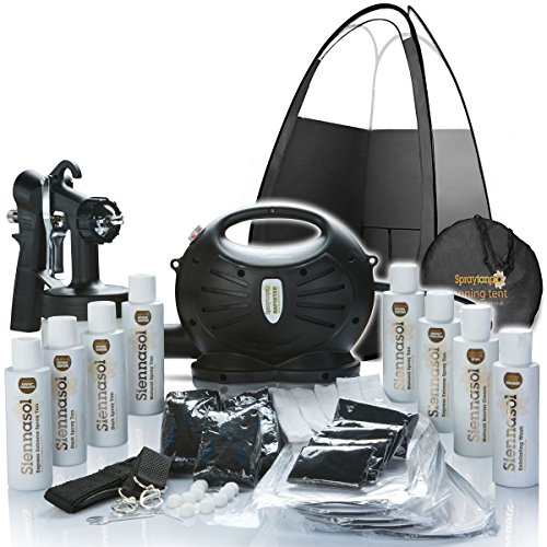 Spray Tan Machine Rapidtan Professional HVLP Spray Tan Kit inc Sticky feet,Tent, Airbrush, 6 X Sunless Spray Tan Solutions