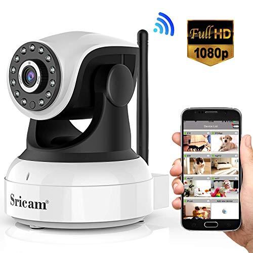 Sricam Ultima Versione SP017 Telecamera WiFi Interno di Sorveglianza 1080P Wireless IP Camera, Obiettivi Ruotabile, Audio Bidirezionale, Modalità Notturna a Infrarossi, Compatibile con iOS Android PC