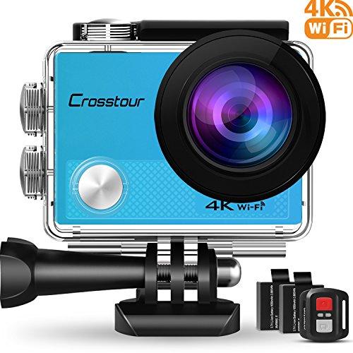 Crosstour Action Cam 4K 16MP Ultra HD WiFi Impermeabile 30m con Telecomando Sport Cam 170°Grandangolare 2 Pollici LCD 2 Batterie Ricaricabili da 1050 mAh e 20 Accessori (Blu)