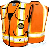 KwikSafety (Charlotte, NC) GODFATHER (Cushioned Collar) Class 2 ANSI OSHA High Visibility Safety Vest 9 Pockets Reflective Tape Heavy Duty Zipper Mesh Hi Vis Construction Men Women Orange Large