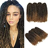 YMHPRIDE Marley Twist Braid Hair Afro Kinky Curly Twist Braiding Hair 4 Packs Long Afro Marley Braiding Hair Soft Synthetic Crochet Braids Hair 18 Inch T1B/27#