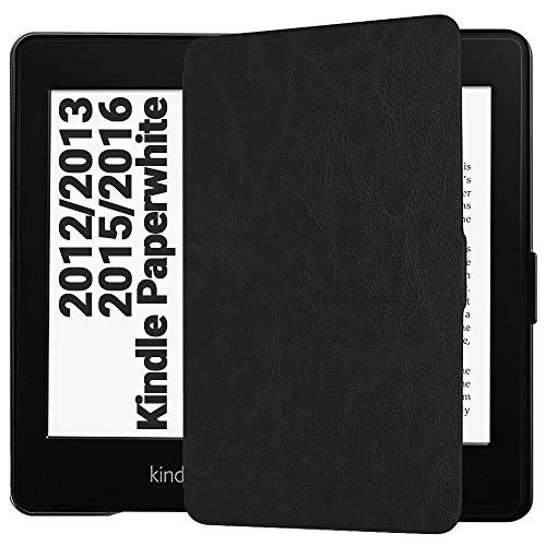 EasyAcc Custodia per Kindle Paperwhite - con Sonno/Sveglia la Funzione Compatibile con Kindle Paperwhite 2012/2013/ 2015 - Nero (Non è Compatibile con la Nuova Versione 2018 di Kindle Paperwhite)