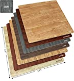 Sorbus Wood Floor Mats Foam Interlocking Wood Mats Each Tile 4 Square Feet 3/8-Inch Thick Puzzle Wood Tiles with Borders – for Home Office Playroom Basement (12 Tiles 48 Sq ft, Wood Grain - Gray)