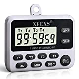 XREXS 4 Channels Digital Kitchen Timer Clock, Cooking Timer with Large LCD Display, 4 Groups Simultaneous Timing Countdown Up Pocket Timer, Magnetic Attachable (battery included) (396)