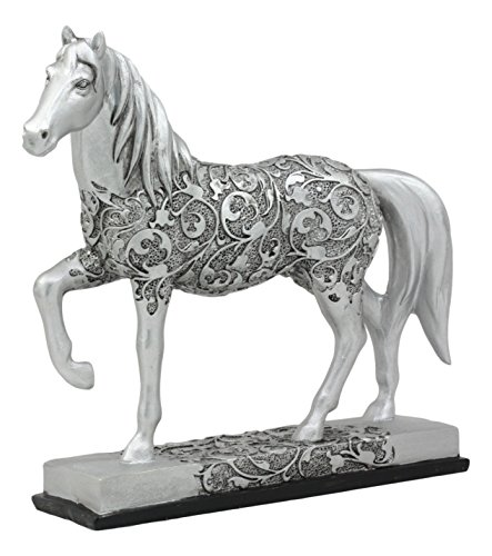 "Ebros Equestrian Filigree Design Graceful Sauntering Silver Horse Statue 7.75"" Long Exotic Carved Stallion with Base Animal Decor Sculpture"