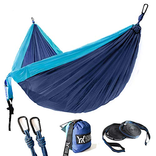 WINNER OUTFITTERS Double Camping Hammock with Straps - Lightweight Nylon Portable Hammock, Best Parachute Double Hammock for Backpacking, Camping, Travel, Beach, Yard. 118'(L) x 78'(W) Blue/Navy Blue