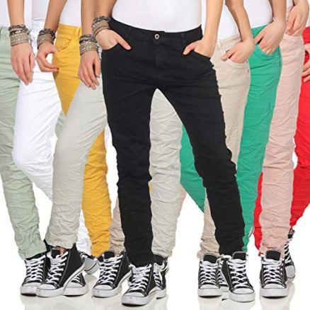 KAROSTAR-Chino-Damen-Jeans-Baggy-Hose-Boyfriend-Hfthose-19-38-Gelb