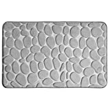 iDesign Pebble Soft Memory Foam Bath Mat, Non-Slip Shower Accent Rug for Master, Guest, and Kids' Bathroom, 34' x 21' - Gray