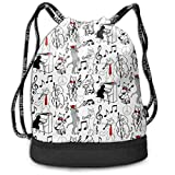 PmseK Mochila con Cordón,Bolsas de Gimnasia, Drawstring Bag Jazz Cats Shoulder Bags Travel Sport Gym Bag Print - Yoga Runner Daypack Shoe Bags with Zipper and Pockets