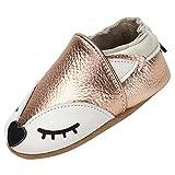 Yavero Chaussures Souple Premiers Légers et Confortables Chaussons Bébé Antidérapant Semelle en Daim Pantoufles Enfant Slippers Intérieur Maison, Renard Or 6-12 Mois