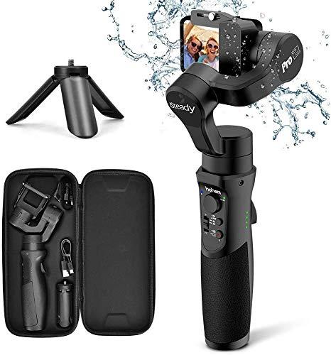 Stabilizzatore Action Cam–3 Assi Gimbal Gopro Spruzzi d'acqua Prova con 5 Modalità e 3600 mAh Batteria, Caricamento 150g con Treppiedi, Adatto Gopro Hero 7/6/5/4/3, Sony RXO, SJCAM,YI (nero-new)