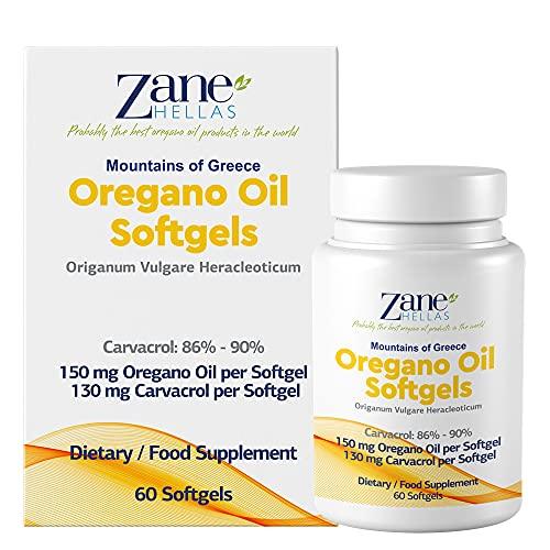 Zane Hellas Oregano Oil Softgels. La mayor concentración del mundo. Cada cápsula contiene un 30% de aceite esencial de orégano griego puro. 130 mg de Carvacrol por cápsula. 60 cápsulas.