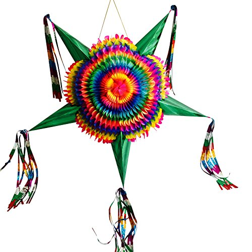 TexMex Fun Stuff Large Mexican Star Pinata   Rainbow Pinatas with Green Cones   Colorful Foldable and Festive Birthday, Party and Fiesta Pinata   Pinata for Kids, Boys, Girls, Adults   Holds 3 Pounds