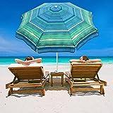 Abba Patio 7 Feet Beach Umbrella with Sand Anchor, Push Button Tilt and Carry Bag, Adjustable Height Fiberglass Rib Patio Umbrella, Striped Color