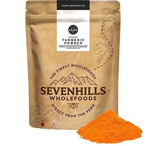 Sevenhills Wholefoods Bio-Kurkumapulver mit Bio-Kapseln aus schwarzem Pfeffer, 500mg x 180