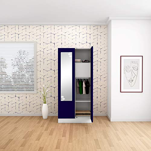 GODREJ INTERIO Slimline 2 Door Steel Almirah with Locker, Star Mirror in Ultra Marine Blue,Textured Finish