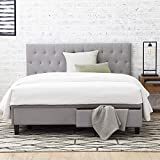 Everlane Home Windsor Upholstered Bed with Built-in Drawers-Diamond Tufted Headboard-Fabric Finish-Easy Setup Platform, Full, Ash