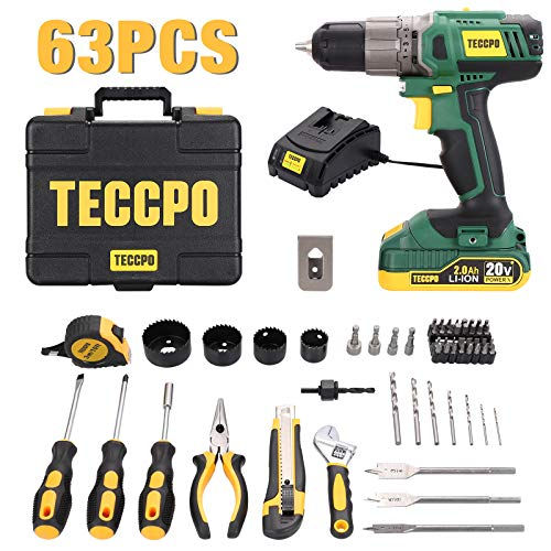 Drill & Home Tool Kit, 20V Cordless Drill, 63Pcs with 2.0Ah Battery and Fast Charger, 220 in-lbs torque, 21+1 Clutch, Socket Screwdriver Set, Wrench, Drill and Screwdriver Bits, Storage Toolbox