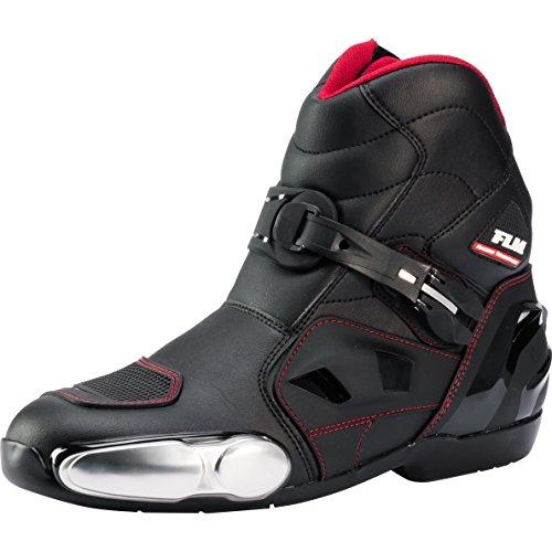 FLM Motorradschuhe, Motorradstiefel kurz Herren, seitlicher Zipper, Klettriegel, Verschluss-Schnalle, Schaltverstärkung, Belüftungssystem, Knöchelprotektoren, Metallzehenschleifer, schwarz, 45