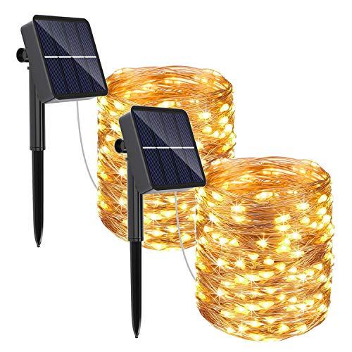 REDSTORM Catena Luminosa Solare, 2 Pacchi Luci Solari Esterno 10M 100 LED lucine Solari 8 modalit Lucine da Esterno Decorative per Esterno, Festa, Giardino, Patio, Camera da Letto, Matrimonio, Natale