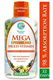 Mega Premium Liquid Multivitamin | Natural Anti Aging Multi-Vitamin w/20 Vitamins, 70 Minerals, 21 Amino Acids, CoQ10 & Organic Aloe Vera | Sugar Free | Orange Flavor | 98% Absorption | 32 Serv