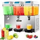 VEVOR 110V Commercial Beverage Dispenser,14.25 Gallon 54L 3 Tanks Juice Dispenser Commercial,18...