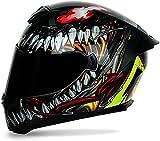 Racing Helmet Motorcycle Helmet Double Lens Detachable Inner Liner Motorcycle Helmet Full Face Helmet Anti-Fog Helmet for Men and Women with DOT/ECE Certification,Venom (Tea Mirror),L
