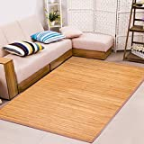 Home Aesthetics 6' X 9' (72'x108') Extra Large Bamboo Floor Mat Area Rug, Indoor Carpet with Natural Elegant Color Finish, Non Skid Backing, Floor Runner Mat for Living Room, Hallway, Kitchen, Office