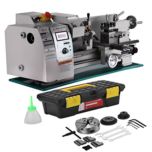 Mophorn Metal Lathe 8x16 Inch Precision Mini Metal Lathe 2500 RPM 750W Variable Speed Mini Lathe Bench Top with Digital Control System (8x16inch+Brush Motor)