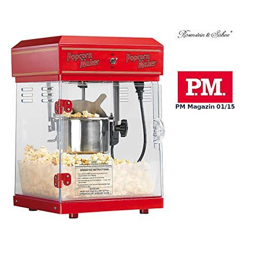 Rosenstein & Söhne Popcornmaschine: Profi-Retro-Popcorn-Maschine'Cinema' mit Edelstahl-Topf im 50er-Stil (Profi Popcornmaschine)